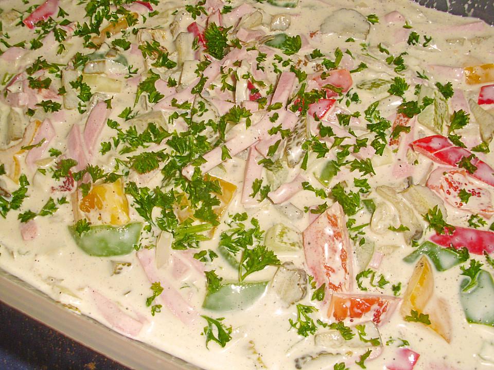 schneller nudelsalat mit fleischsalat gurken rezepte