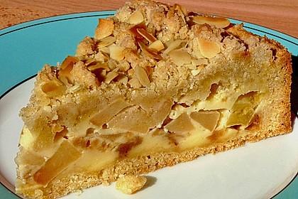 Apfelkuchen mit Puddingcreme und Streuseln 4