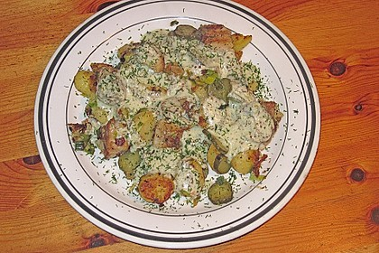 Feiner Pannfisch mit Bratkartoffeln und Senfsauce 1