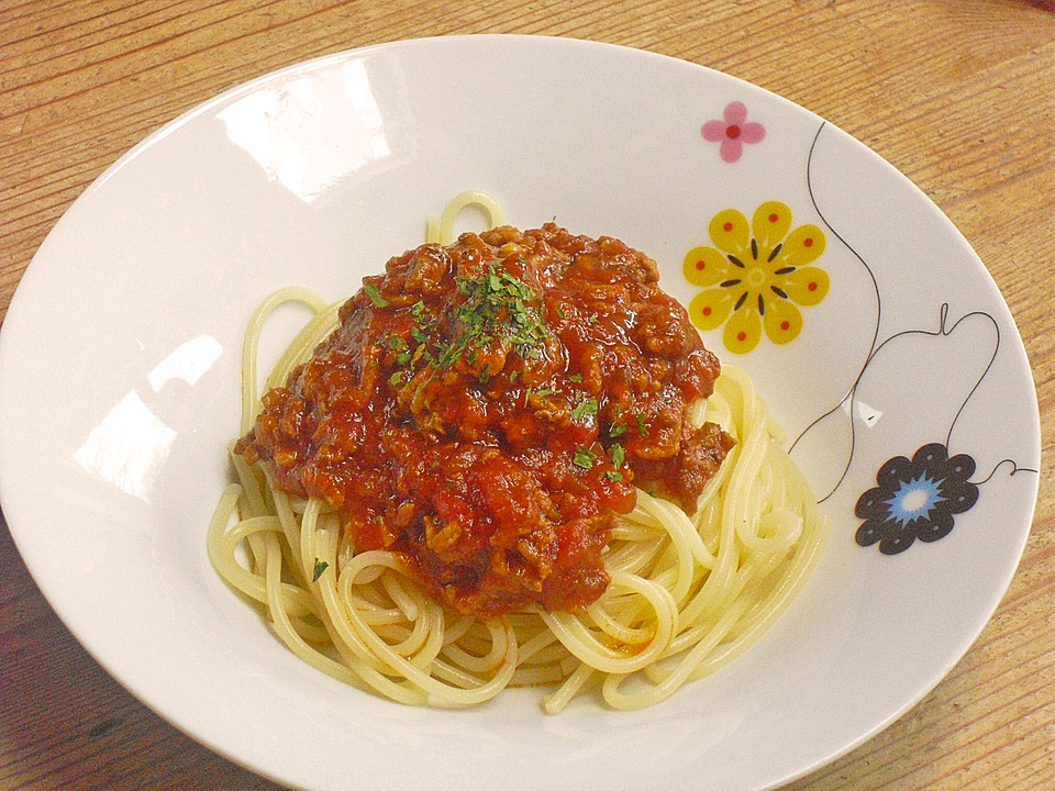 spaghetti mit scharfer so e bolognese von angymausal. Black Bedroom Furniture Sets. Home Design Ideas