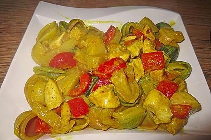 Ananashühnchen in Currysauce