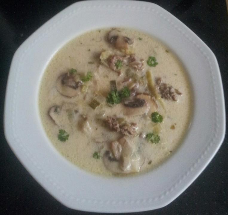 champignon porree lauch k se curry suppe rezept mit bild. Black Bedroom Furniture Sets. Home Design Ideas