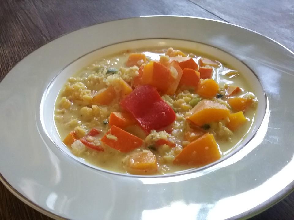 Kürbis - Kokos - Suppe Mit Roten Linsen (Rezept Mit Bild