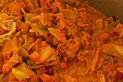 Spitzkohl mit roten Linsen 16