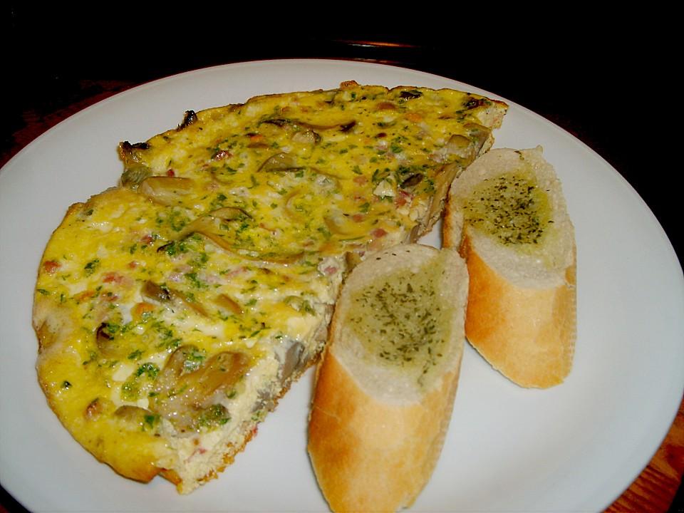 omelett mit gekochtem schinken und champignons rezept mit bild. Black Bedroom Furniture Sets. Home Design Ideas