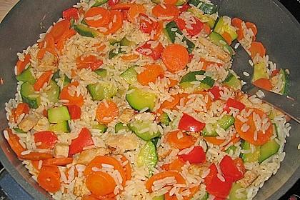 Zucchini - Reispfanne mit Möhren und Huhn