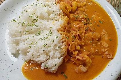 Garnelen - Curry mit Schinken