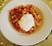 Hackfleisch-Reis-Pfanne mit Curry, Kichererbsen und Rosinen (Bild)