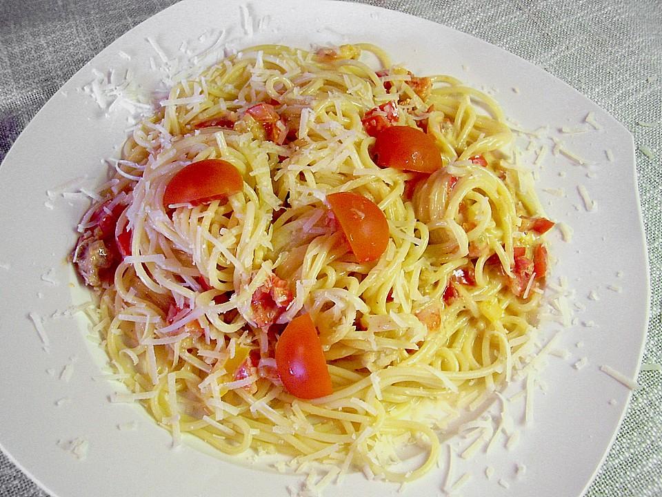 paprika carbonara mit spaghetti rezept mit bild. Black Bedroom Furniture Sets. Home Design Ideas
