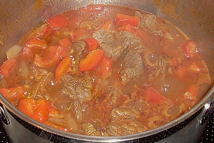 Gulasch vom Rind mit Schalotten und Paprika 15