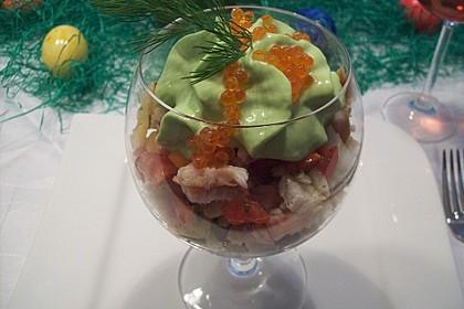 Bärlauchespuma auf Tomaten- Forellen - Salat 1