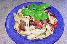 Italienischer Rucola - Champignon - Nudelsalat mit Pinienkernen