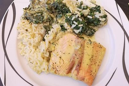 Fischauflauf mit Honig - Senfsauce und Spinat 3
