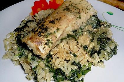 Fischauflauf mit Honig - Senfsauce und Spinat 2