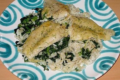 Fischauflauf mit Honig - Senfsauce und Spinat 8