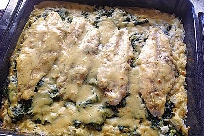 Fischauflauf mit Honig - Senfsauce und Spinat 6