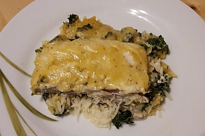 Fischauflauf mit Honig - Senfsauce und Spinat