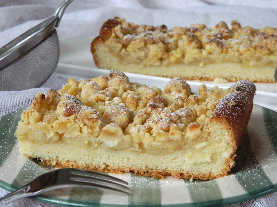 Rezept apfelkuchen mit marzipan und streuseln