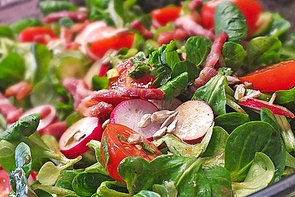 Gemischter Feldsalat mit Himbeeressig - Dressing