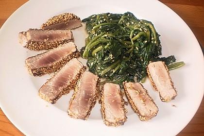 Thunfischfilet in Zimt - Sesam - Kruste auf Chili - Mango - Salat 25