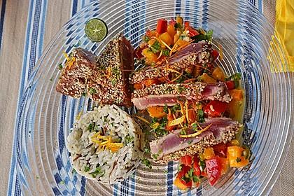 Thunfischfilet in Zimt-Sesam-Kruste auf Chili-Mango-Salat 5