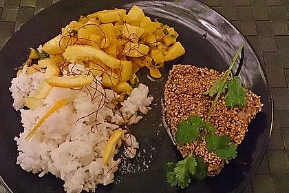 Thunfischfilet in Zimt-Sesam-Kruste auf Chili-Mango-Salat 23