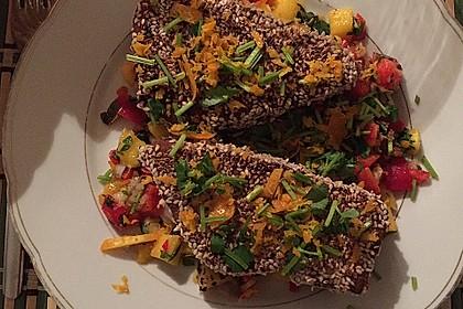 Thunfischfilet in Zimt - Sesam - Kruste auf Chili - Mango - Salat 21