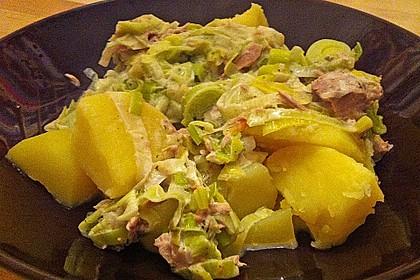 Nudeln mit Porree - Thunfisch - Soße 7