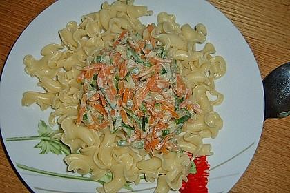 Nudeln mit Zucchini und Möhren und Frischkäse 10