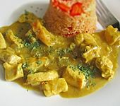 Geschnetzelte Putenbrust in Currysoße