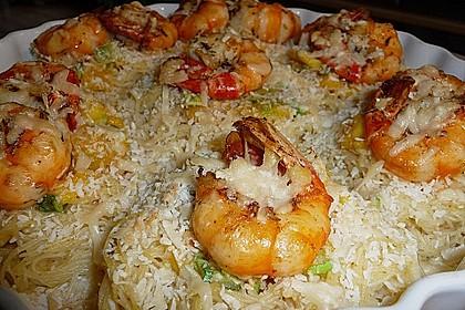 Scampi auf gratinierten Reisnudeln 1
