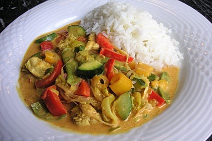 Farbenfrohes Putencurry (Bild)