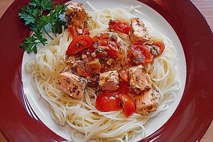 Spaghetti mit Lachs und Kirschtomaten 2