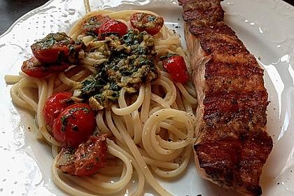 Spaghetti mit Lachs und Kirschtomaten 3