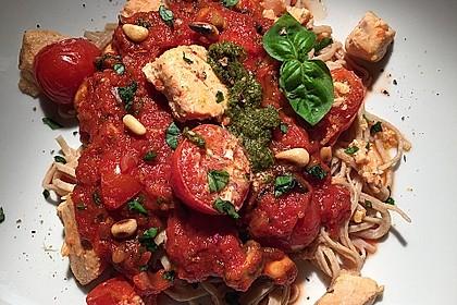 Spaghetti mit Lachs und Kirschtomaten 11