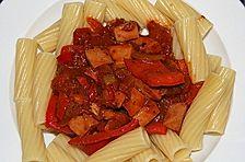 Geflügelwurst - Gulasch aus dem Wok
