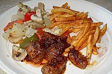 Lammfiletspitzen mit Strohkartoffeln und Grillgemüse