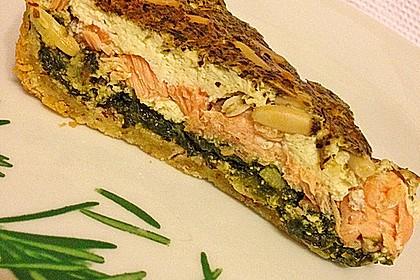 Quiche mit Lachs, Spinat und Pinienkernen 7