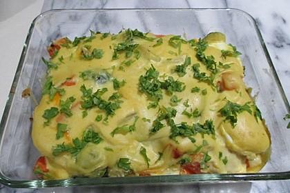 Eier - Gemüse - Auflauf mit Senfsauce (Bild)