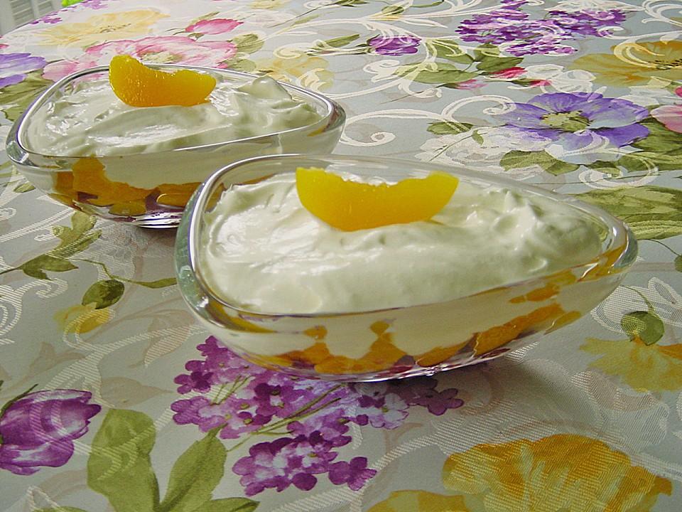 joghurt dessert mit himbeeren und pfirsichen rezept mit bild. Black Bedroom Furniture Sets. Home Design Ideas