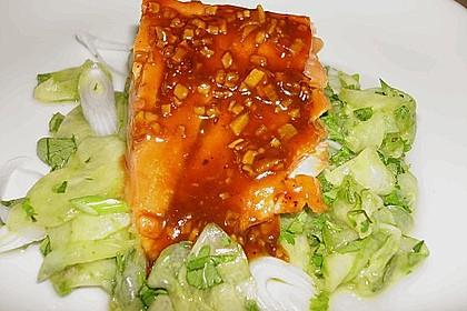 Lackierter Lachs mit Koriander - Gurkensalat 1
