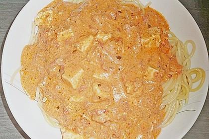 Spaghetti mit Schafskäse und Frischkäse - Pesto - Sauce 2