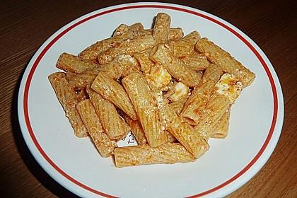Spaghetti mit Schafskäse und Frischkäse - Pesto - Sauce 4