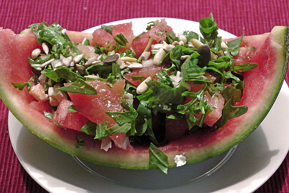 melonen rucola salat mit feta rezept mit bild. Black Bedroom Furniture Sets. Home Design Ideas