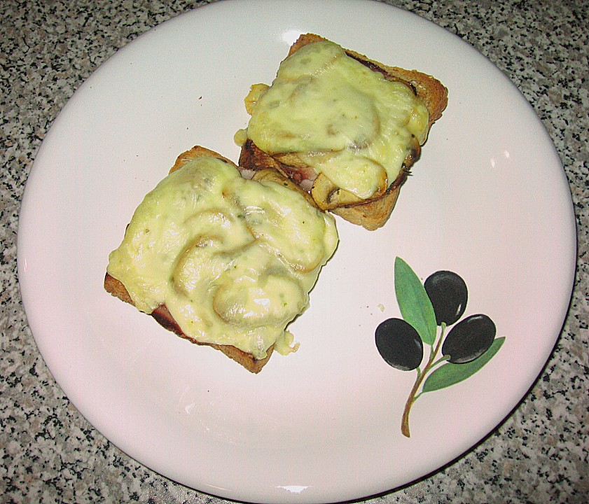 schinken k se toast mit champignons rezept mit bild. Black Bedroom Furniture Sets. Home Design Ideas
