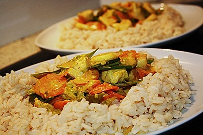 Rotes Bananen - Curry mit Pute