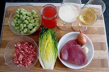 Thunfischsteak mit pikantem Rhabarbergelee auf Schinken, dicken Bohnen und Salat 4