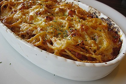 Überbackene Spaghetti