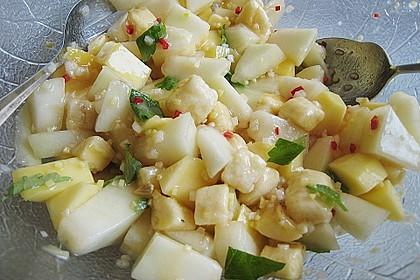 Putenfiletspieße mariniert an pikanter Obstmischung 1