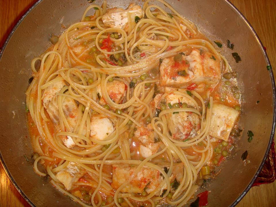 pasta pesce spaghetti mit scharfem fisch rezept mit bild. Black Bedroom Furniture Sets. Home Design Ideas
